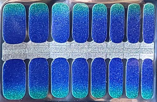 Teal To Ocean Laser Glitter Gradient