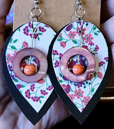 Cottage Floral Teardrop Earrings on Black