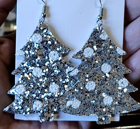 Silver Polka Dot Glitter Christmas Tree Earrings