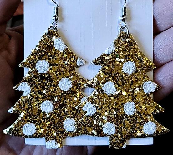 Gold Polka Dot Glitter Christmas Tree Earrings