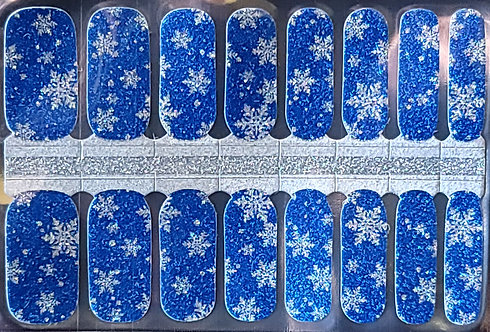 Sparkly Snowflakes On Blue
