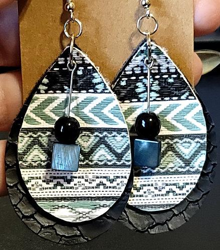Sage Aztec Teardrop Earrings on Black