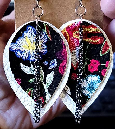 Red & Blue Floral Teardrop Earrings on White