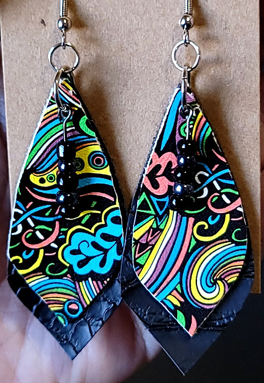 Colorful Swirls Diamond Earrings on Black