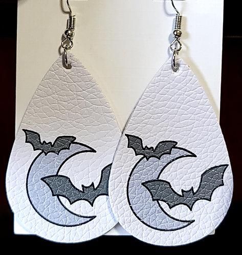 Moon & Bats Teardrop Earrings on White