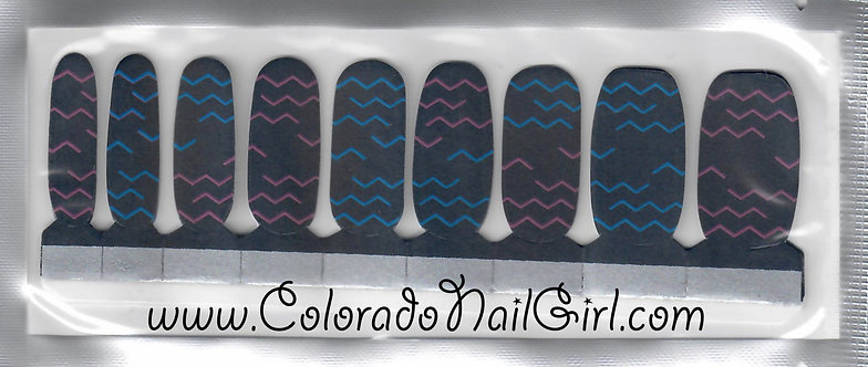 Charcoal with Blue and Pink Zigzags