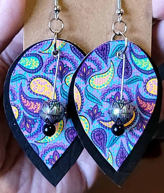 Funky Purple Paisley Teardrop Earrings on Black