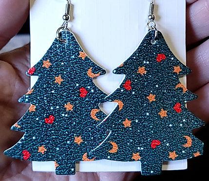 Moons & Stars Christmas Tree Earrings - Cut Off Tip