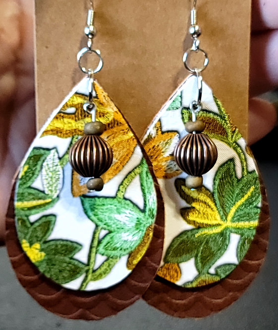 Spring Floral With White Background Teardrop Earrings on Brown