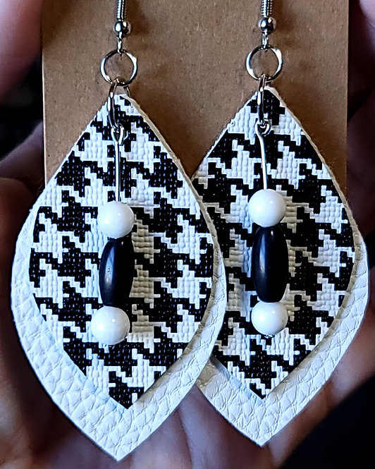 Black and White Houndstooth Leaf Earrings on White