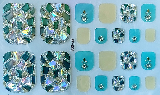 Aqua & Yellow With Jewels - Toes