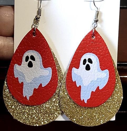 Ghost Teardrop Earrings on Red w/ Gold Glitter