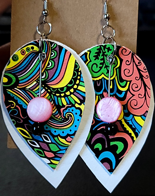 Colorful Swirls Teardrop Earrings on White