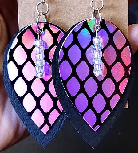 Holographic Pink Teardrop Earrings on Black