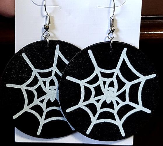 Glowing Webs Round Earrings on Black