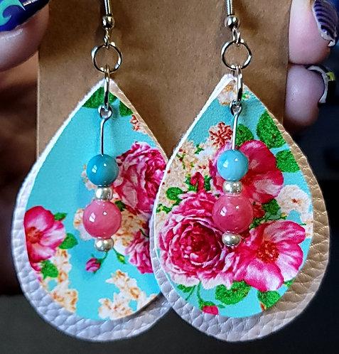 Aqua Floral Teardrop Earrings on Pink
