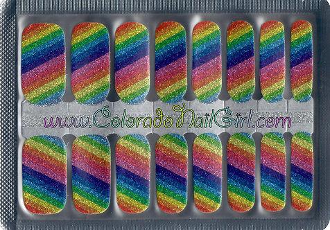 Diagonal Striped Rainbow Glitter