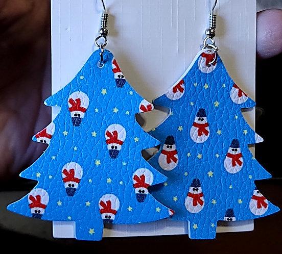 Snowmen On Blue Christmas Tree Earrings - Misprint