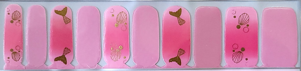 Golden Mermaid Tails On Bright Pink