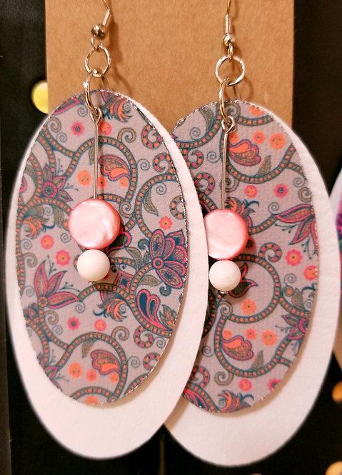 Summer Paisley NAS Oval Earrings on White
