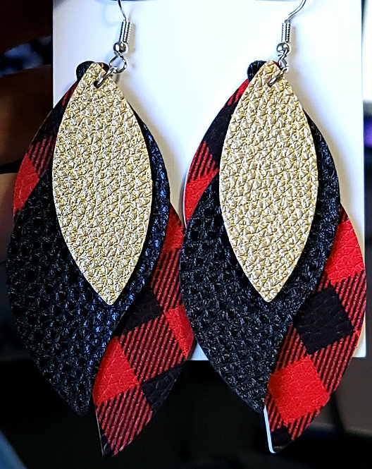 Buffalo Plaid & Gold S Shaped Earrings