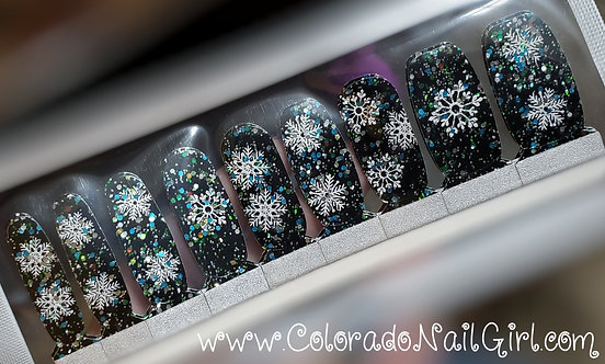 Black With Holo Glitter and Snowflakes