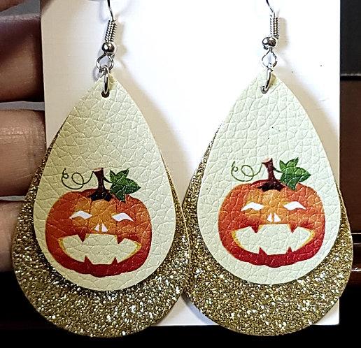 Jack O Lantern Teardrop Earrings w/ Gold Glitter