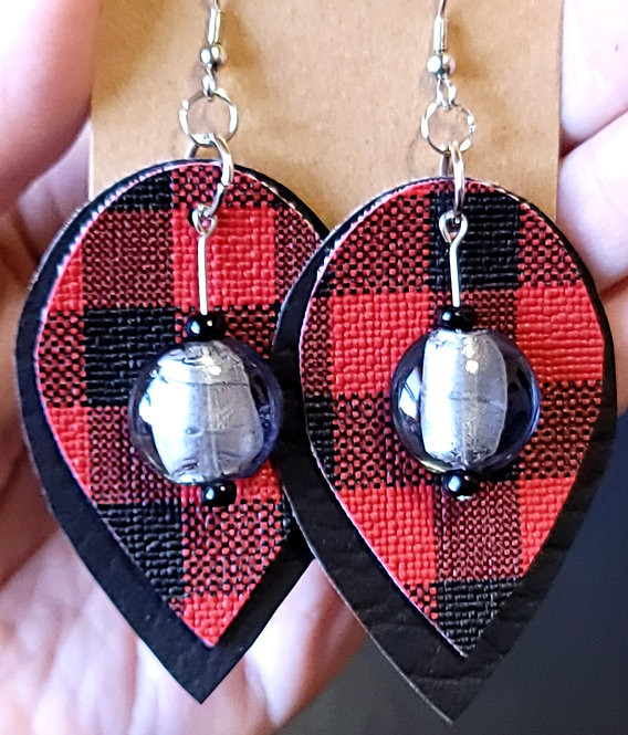 Buffalo Plaid Teardrop Earrings on Black
