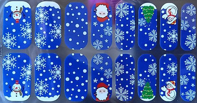 Blue Christmas Snowflakes & Santa