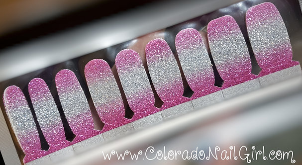 Pink to Silver Glitter Ombre