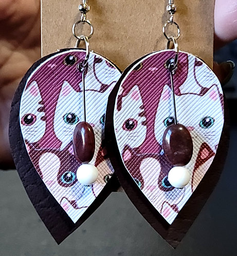 Cats Teardrop Earrings on Brown