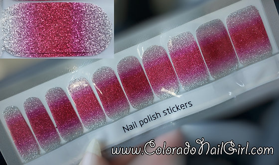Silver to Bright Pink Glitter Ombre