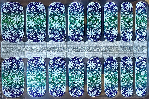 Gradient Blue/Green Glitter With Snowflakes