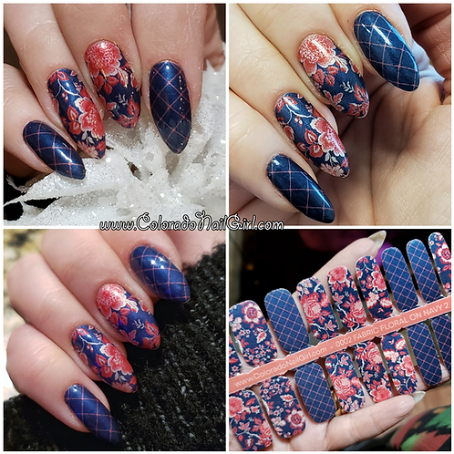 Fabric Floral On Navy 2