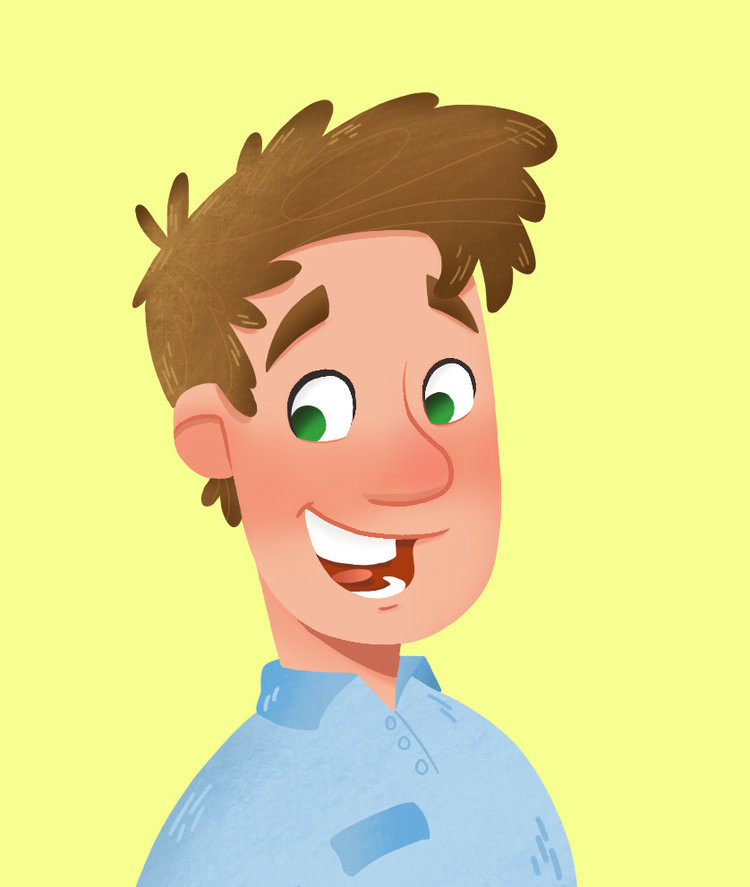 Adam Walker-Parker grinning cartoon self-image - from Bright Copper Kettles CIC blog