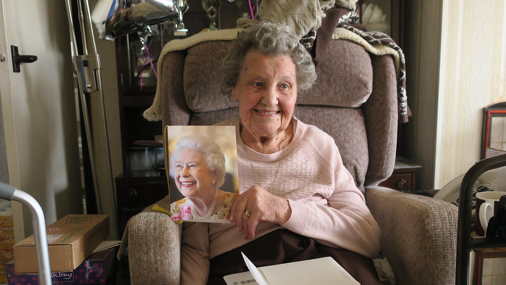 Proud Mabel receives birthday card from the Queen