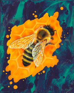 Bee oil painting