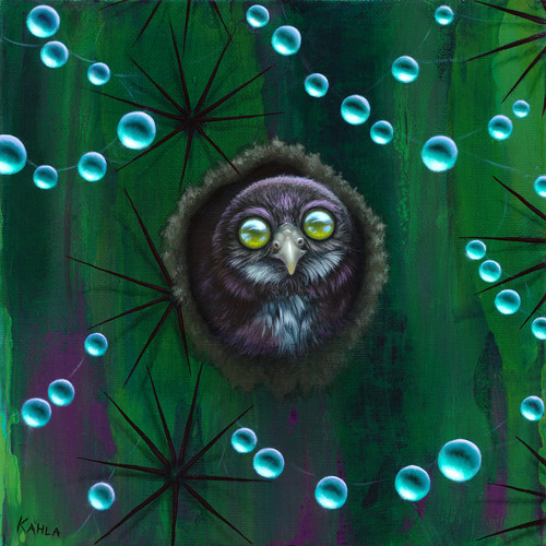 Owl in cactus oil painting