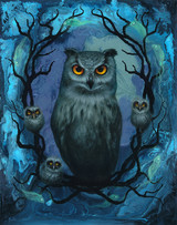 Owl babies oil painting