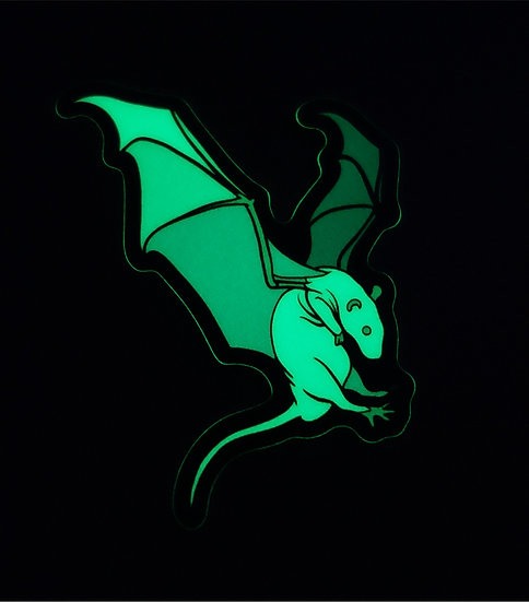GLOW IN THE DARK VINYL STICKER, Rats With Wings