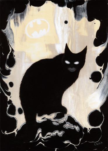 Batman cat oil painting
