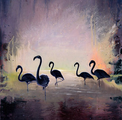 Black Flamingo oil painting