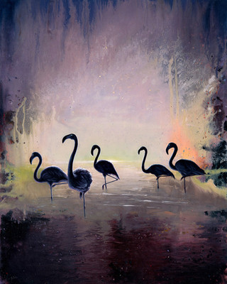 Black Flamingo oil painting