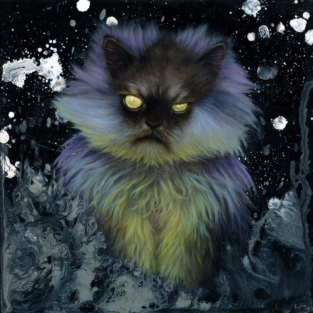 Sorcerer Snowball Cat Oil Painting