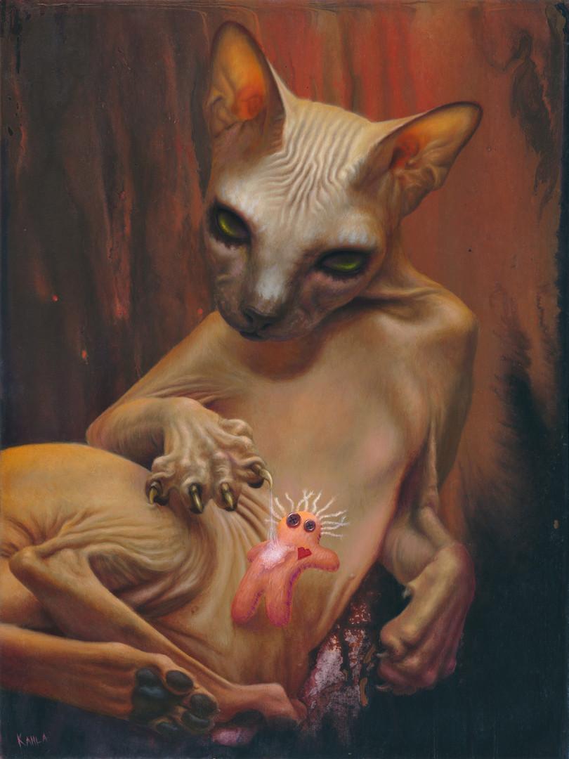 Voodoo Sphynx oil painting