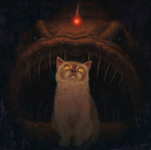 Angler Fish Cat oil painting