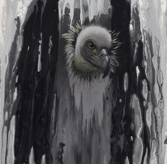 vulture oil painting