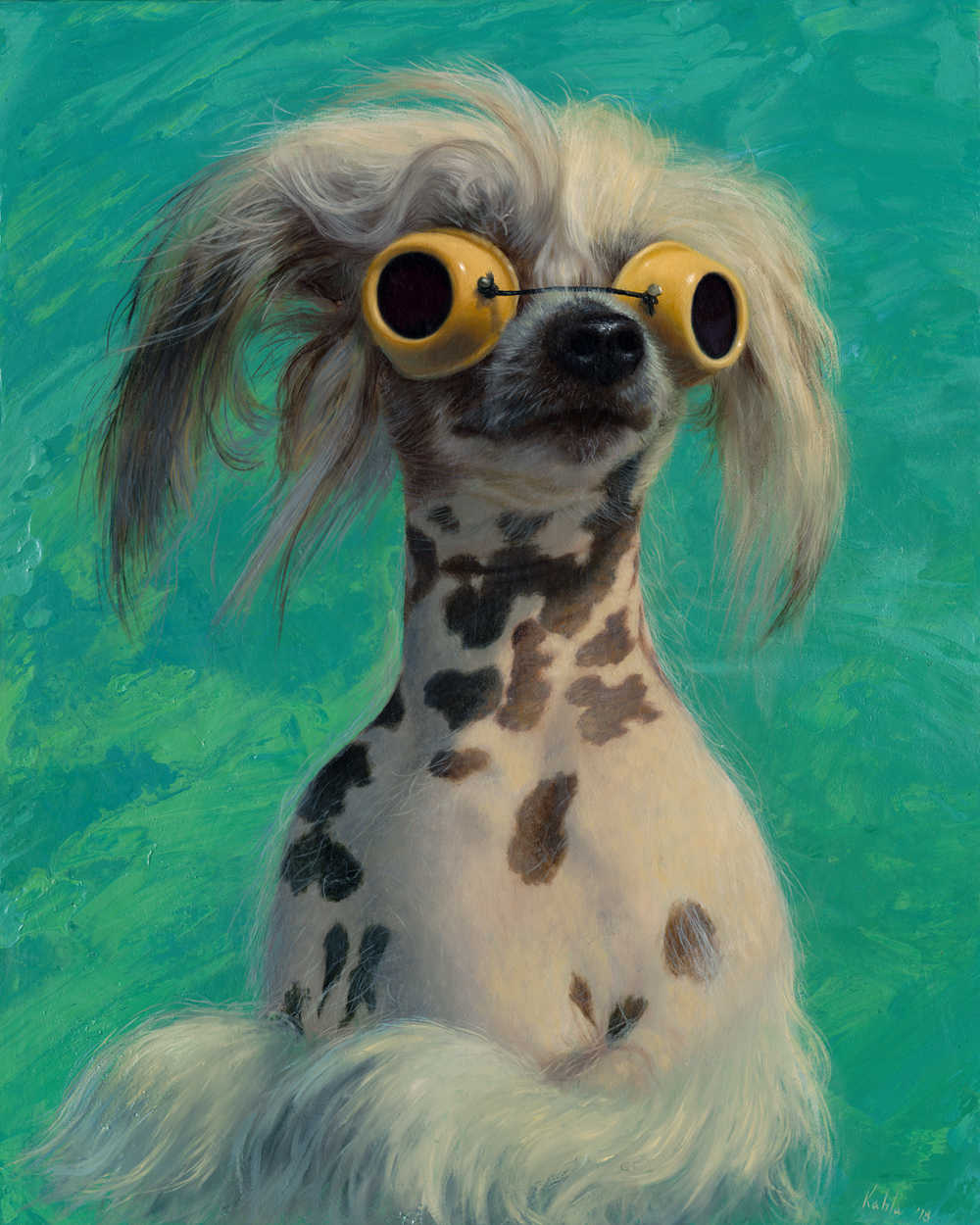 chinese crested oil painting