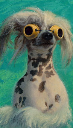 dog goggles  oil painting