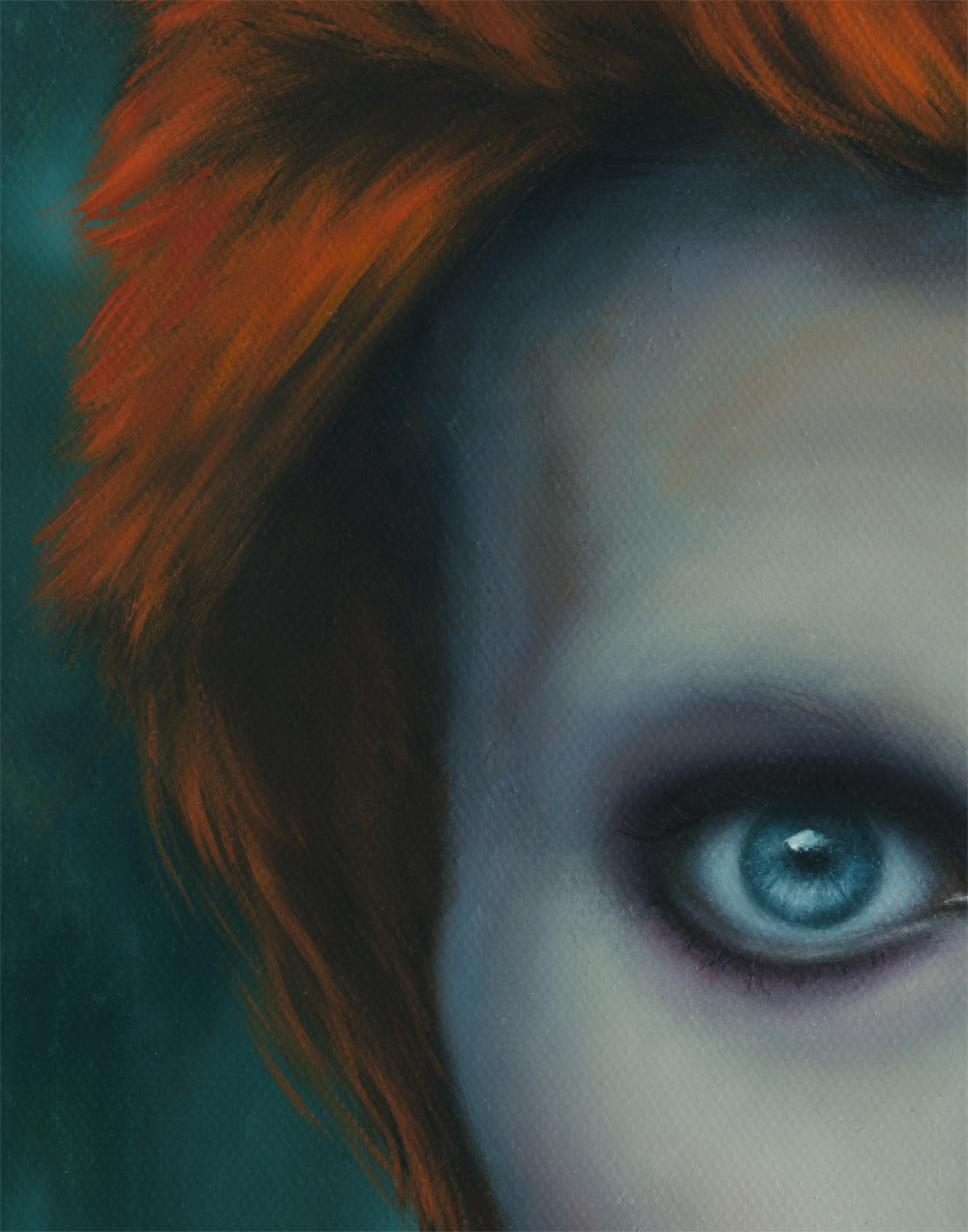 detail, hair, david bowie painting